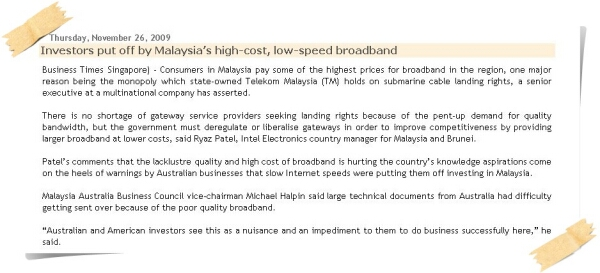 NEWS - Investors Put Off Due To High Broadband Cost in Malaysia